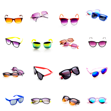 Sunglasses collage isolated on white background Stock Photo