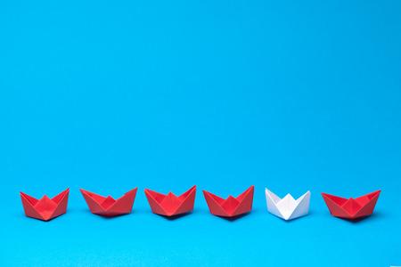 winner red paper ship Stock Photo