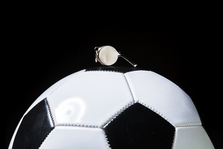 Football ball with whistle Banque d'images