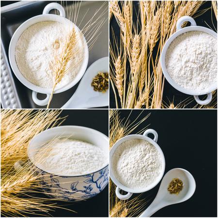 White flour with wheat Stock Photo