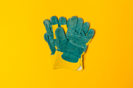 Construction safety gloves top view Stock Photo