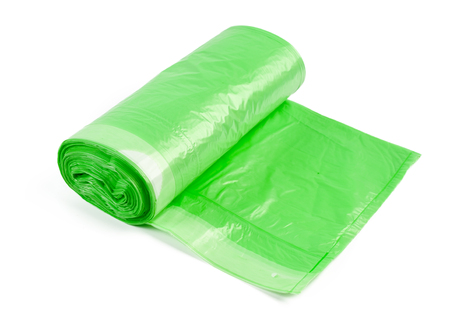 roll of plastic garbage bags isolated on white background