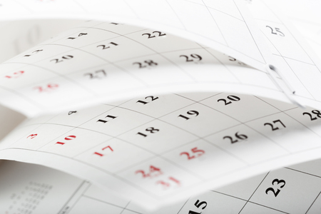 Calendar pages close up business time concept Stock Photo