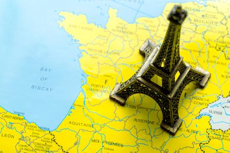 Eiffel tower on map Stock Photo