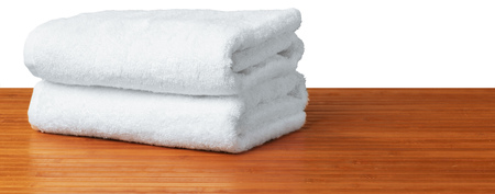 white spa towels on the table Stock Photo