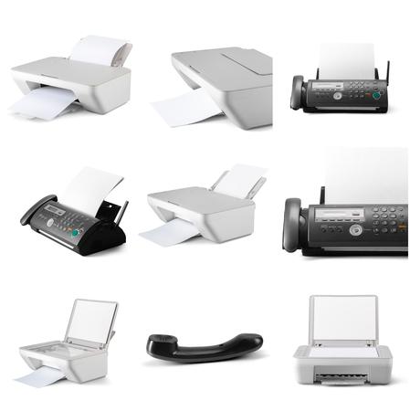 Modern digital printer isolated on white background