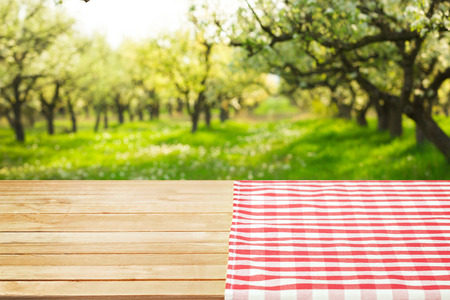 wooden table with field