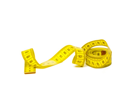 yellow metric measuring tape isolated on white panorama background Banque d'images - 109619346