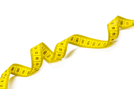 yellow metric measuring tape isolated on white panorama background Banque d'images - 109620013