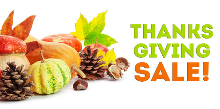 Happy Thanksgiving Sale tag with autumn pumpkins Stock Photo
