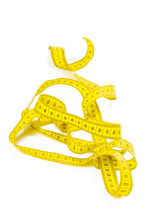 yellow metric measuring tape isolated on white panorama background Banque d'images - 109898464