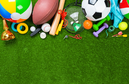 Various sport tools on grass 스톡 콘텐츠