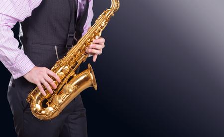 professional saxophonist close up Stock Photo