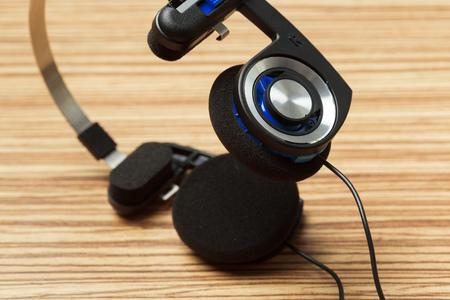 headphone on wooden table