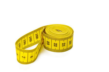 yellow metric measuring tape isolated on white panorama background Banque d'images - 109976542