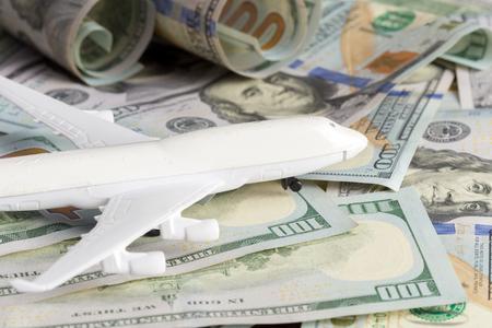 airplane on the money Standard-Bild