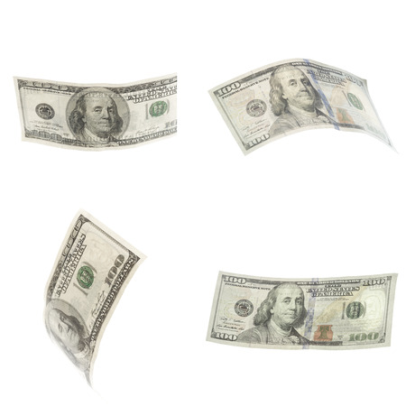 Collage of american dollars banknotes isolated on white background Stock Photo