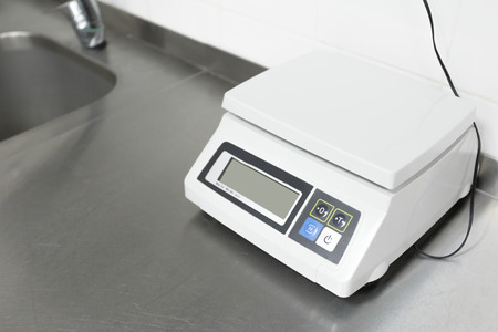 Digital scales in a restaurant kitchen