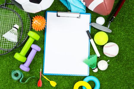 Various sport tools on grass 版權商用圖片