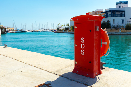 Fire hydrant. Fire protection in the port. Stock Photo