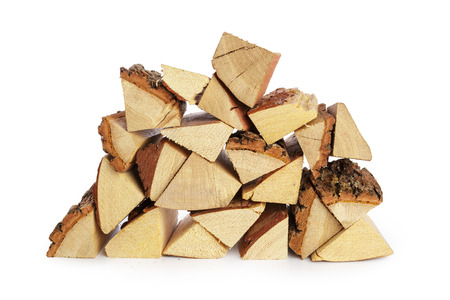 Pile of firewood isolated on a white background Banco de Imagens