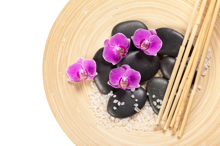 zen stone and orchid. spa concept Imagens