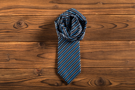 Happy Father's Day. tie on the wooden table