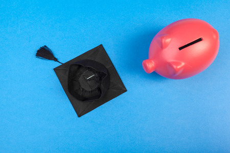 Student college graduate piggy bank 免版税图像