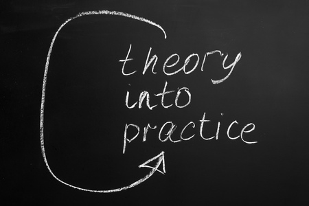 Theory into practice text on a blackboard Stockfoto