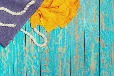 Summer holiday background with beach items Stockfoto