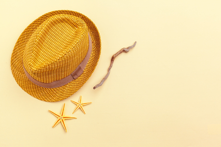 Female straw hat on a colorful background