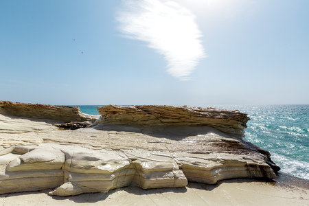 View of a rocky coast in the morning 免版税图像