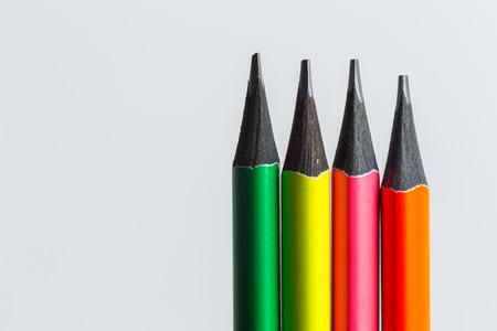 macro shot of color pencil pile pencil