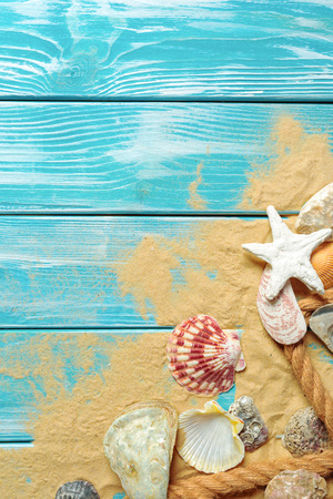 sea rope with many different sea shells on the sea sand on a blue wooden background. Top view Stock Photo
