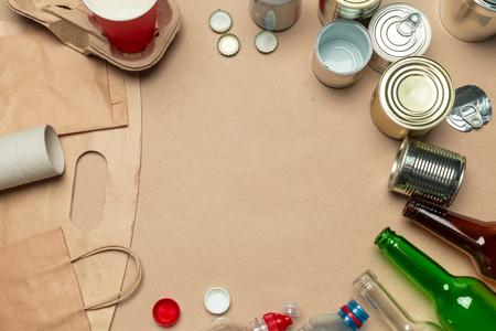 waste materials paper, plastic, polyethylene Stock Photo