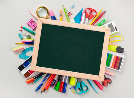 School and office supplies. Top view. Stock Photo