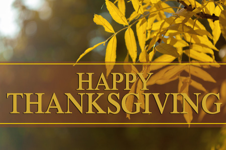happy thanksgiving day text greeting against autumn leaves