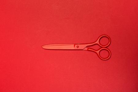 scissors on color background