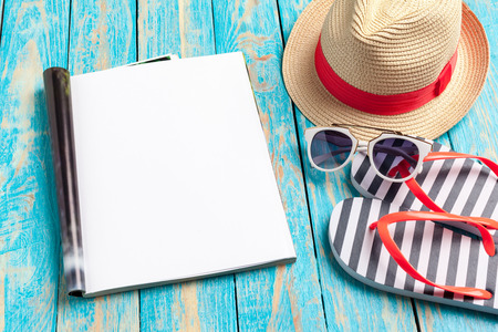 Writing Diary Summer Beach Vacation Concept 版權商用圖片