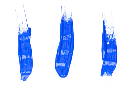Blue traces of paint isolated on a white background
