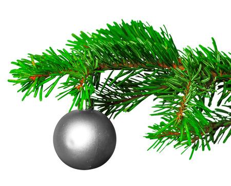 Kerstmisbal op dennentak die op witte achtergrond wordt geïsoleerd