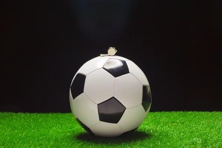 Football ball with whistle Stok Fotoğraf