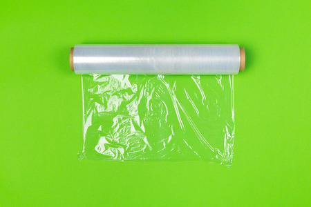 Clean wrap roll on bright colored background top view