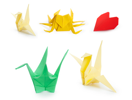 Collage of different origami papers Stock Photo