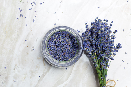 Dried lavender on the table Imagens