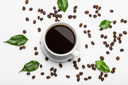 Coffee cup and beans on a white background 写真素材