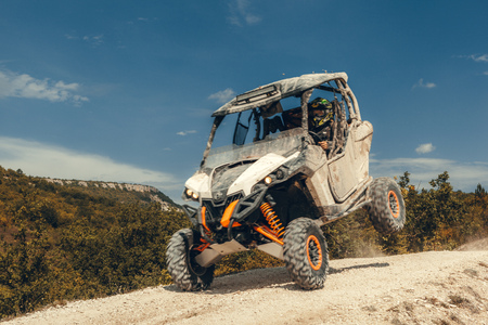 ATV jump in the mountains Stockfoto