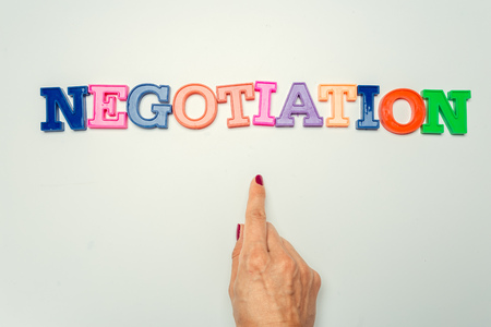 Word negotiation written in colorful plastic letters on white background