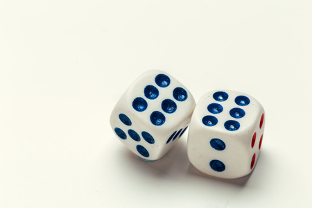 dice isolated on white background Standard-Bild