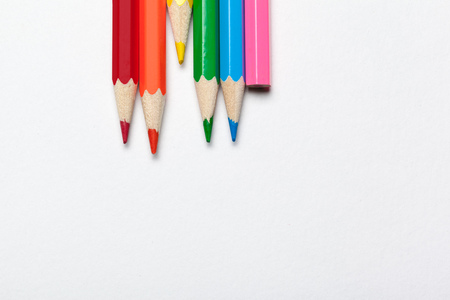 Wooden colorful ordinary pencils isolated on a white background 版權商用圖片